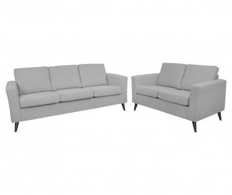 Set canapea 3 locuri si canapea 2 locuri Alex Light Grey Black Legs