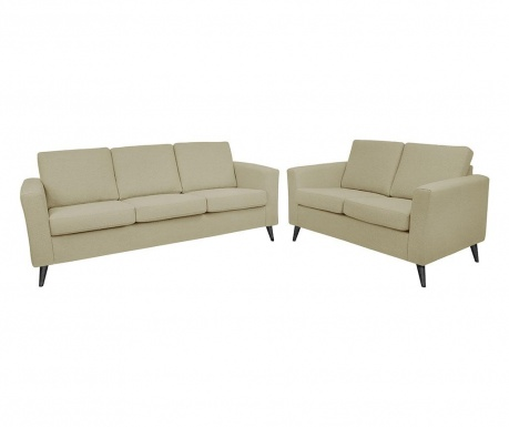 Set canapea 3 locuri si canapea 2 locuri Alex Sand Black Legs