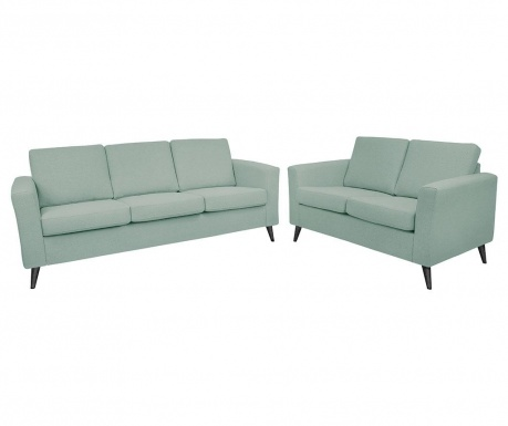 Set canapea 3 locuri si canapea 2 locuri Alex Greyish Blue Black Legs