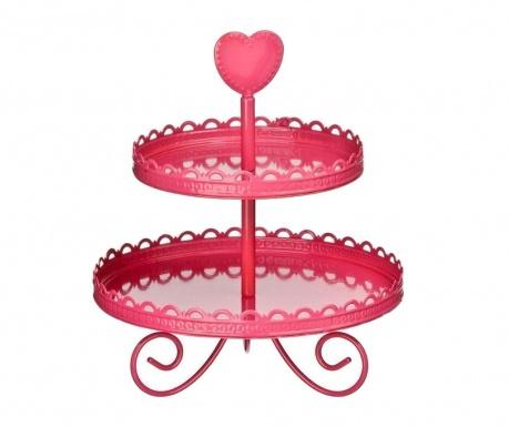 Pink Heart 2 szintes  Szervírozó tál