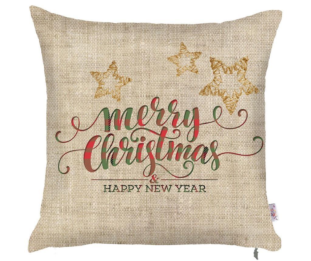 Fata de perna Merry Christmas Natural 43x43 cm