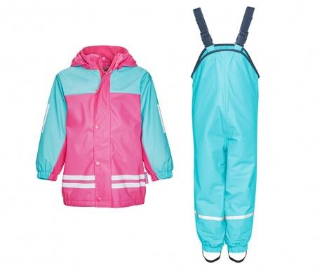 Set jacheta si salopeta impermeabila copii Duo Colors Turquoise Pink 9-12 luni