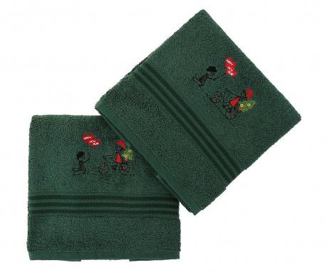 Σετ 2 πετσέτες μπάνιου Happy New Year Green