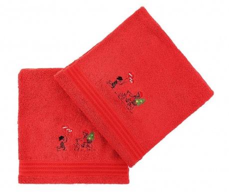 Σετ 2 πετσέτες μπάνιου Happy New Year Red