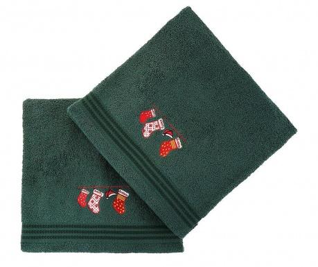 Σετ 2 πετσέτες μπάνιου Christmas Gifts Green