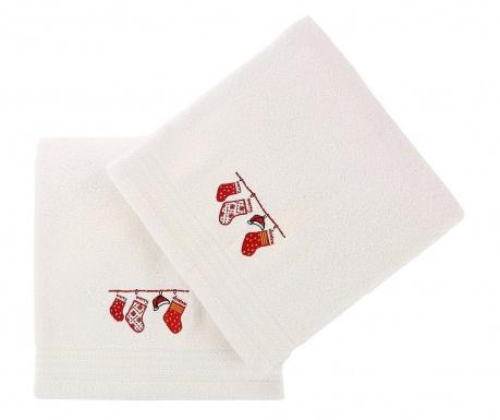 Σετ 2 πετσέτες μπάνιου Christmas Gifts White 70x140 cm