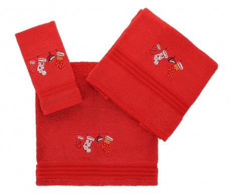 Σετ 3 πετσέτες μπάνιου Christmas Gifts Red