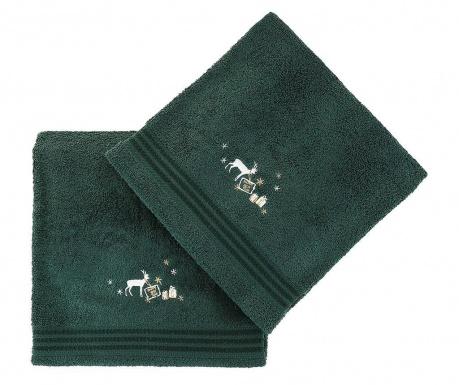 Σετ 2 πετσέτες μπάνιου Christmas Reindeer Green