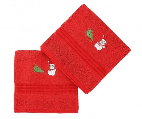 Σετ 2 πετσέτες μπάνιου Tree and Snowman Red 70x140 cm