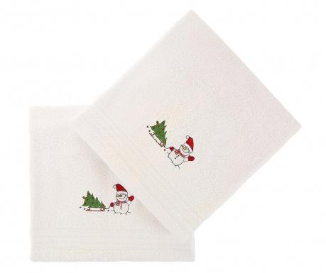 Σετ 2 πετσέτες μπάνιου Tree and Snowman White 70x140 cm