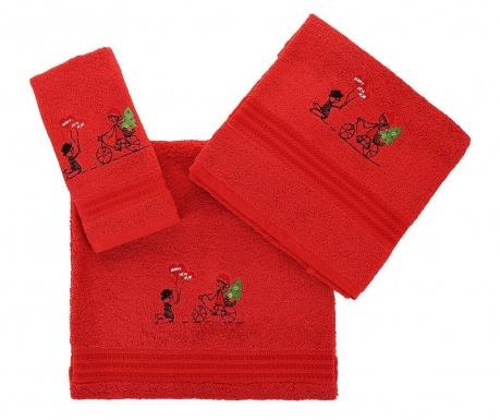 Σετ 3 πετσέτες μπάνιου Happy New Year Red