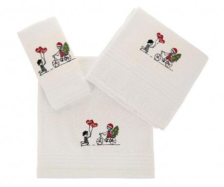 Σετ 3 πετσέτες μπάνιου Happy New Year White