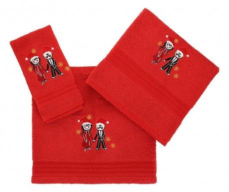Σετ 3 πετσέτες μπάνιου Christmas Couple Red