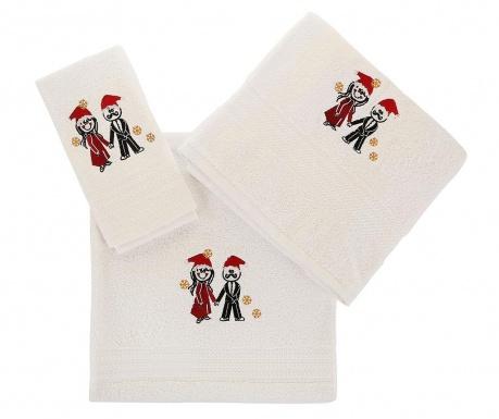 Σετ 3 πετσέτες μπάνιου Christmas Couple White