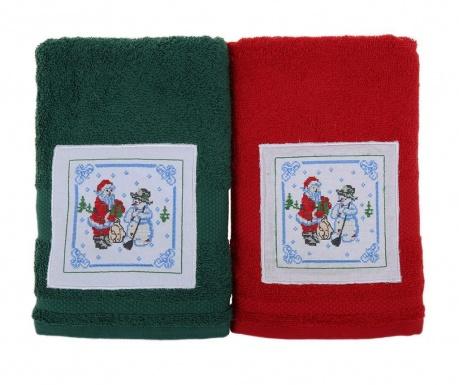 Σετ 2 πετσέτες μπάνιου Santa and Snowman Green and Red 50x100 cm