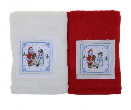 Σετ 2 πετσέτες μπάνιου Santa and Snowman White and Red 50x100 cm