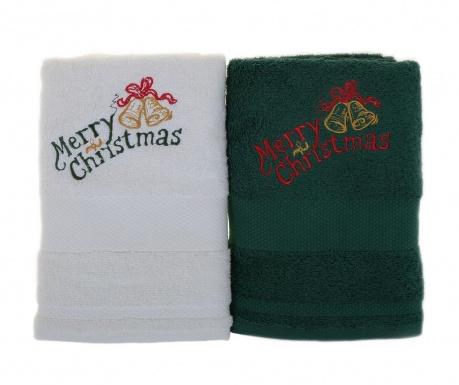 Σετ 2 πετσέτες μπάνιου Merry Christmas White and Green 50x100 cm