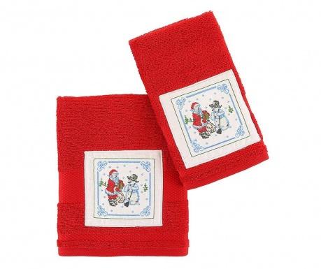 Σετ 2 πετσέτες μπάνιου Santa and Snowman Red