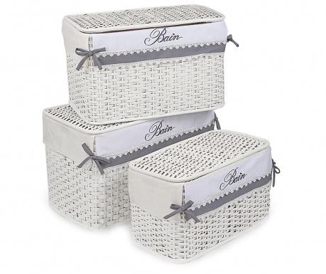 Set 3 košare za rublje s poklopcem Bianco Bain