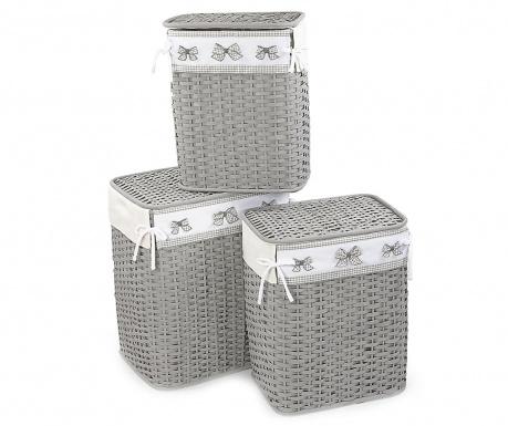 Set 3 košare za rublje s poklopcem Grey Bows