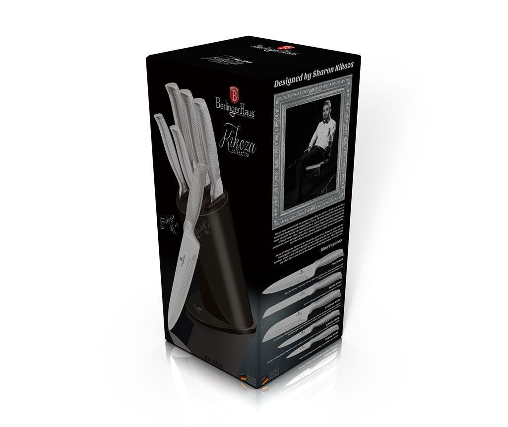 Set 5 nožev in držalo Kikoza Collection Grey