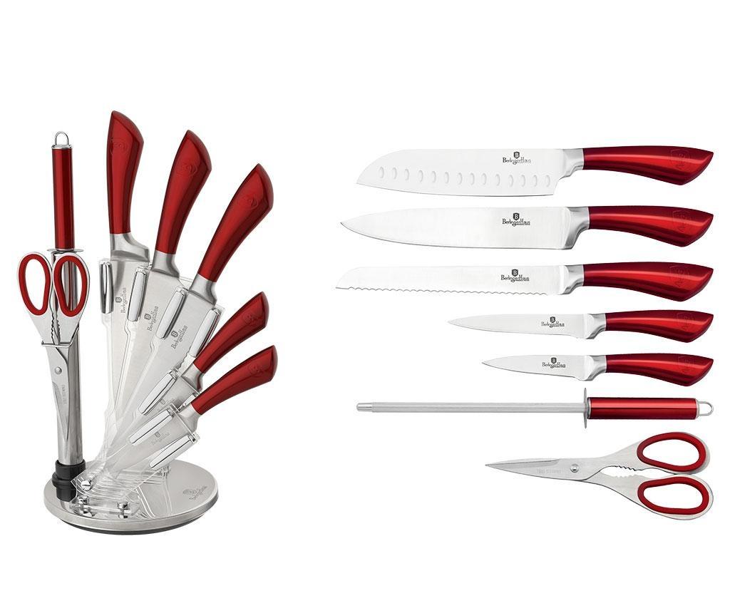 Sada 5 nožů, nůžky, brousek na nože a stojan Infinity Line Red