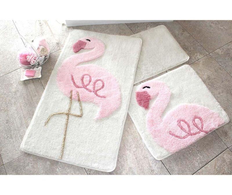 Set 3 kopalniških preprog Pink Flamingos
