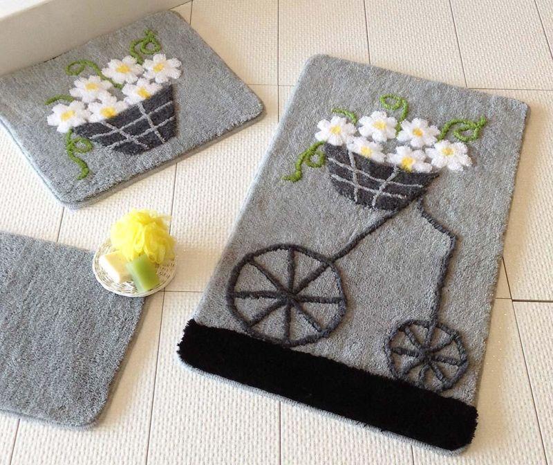 Set 3 tepiha za kupaonicu Alcati Grey