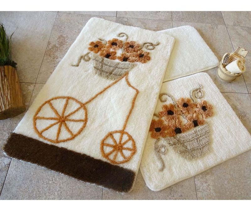 Set 3 tepiha za kupaonicu Alcati Brown