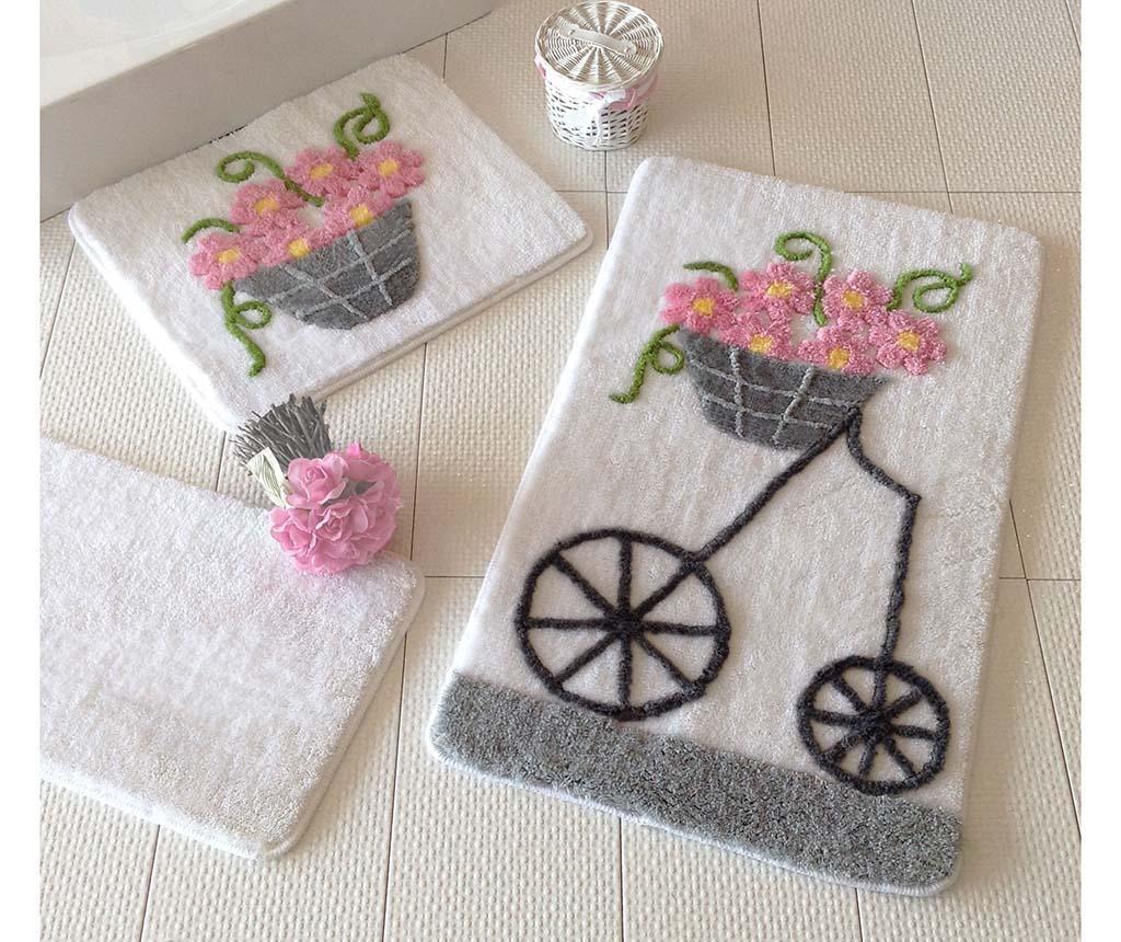 Set 3 tepiha za kupaonicu Alcati Pink