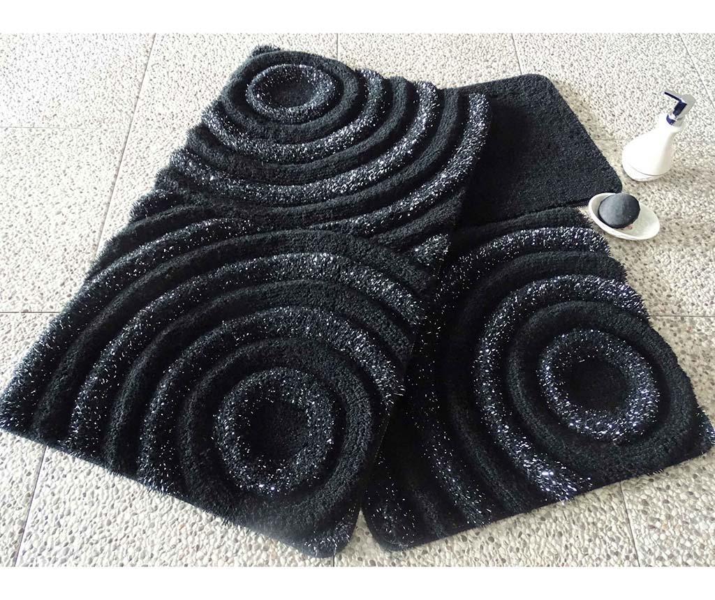 Set 3 tepiha za kupaonicu Wave Black