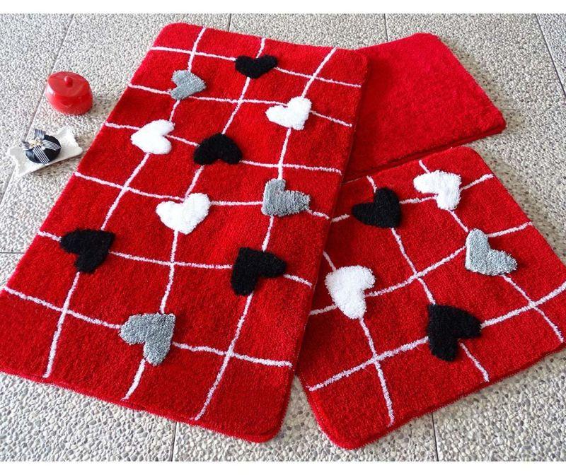 Set 3 tepiha za kupaonicu Kally Red