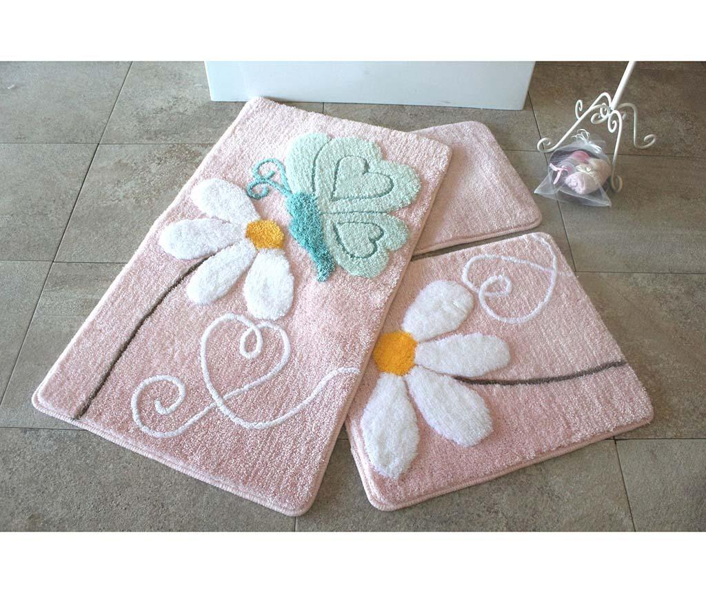 Set 3 tepiha za kupaonicu Ponte Pink