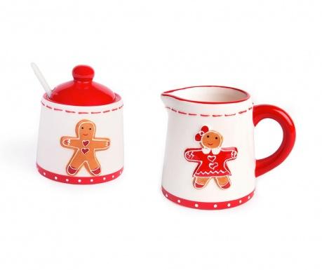 Sada konvička na mlieko a cukornička s vekom a lyžičkou Gingerbread Boy and Girl