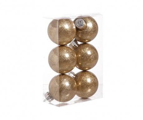 Set 6 globuri decorative Glitter in Gold