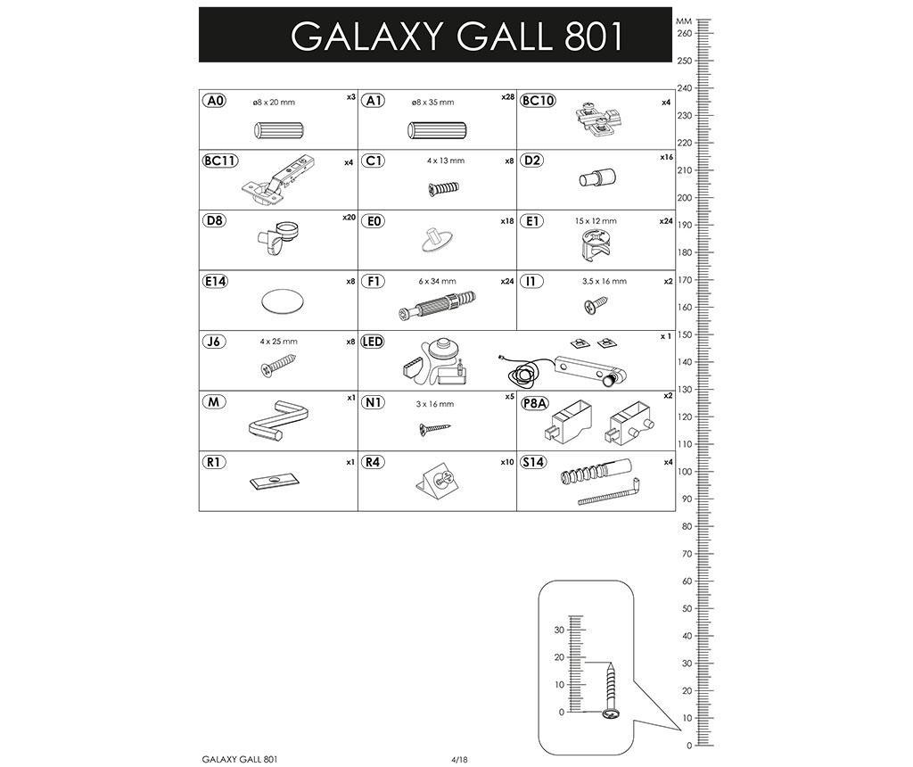 Galaxy Tall Graphite Fali szekrény tükörrel