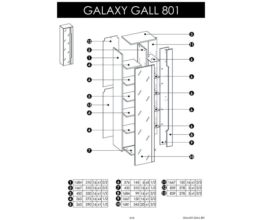 Corp suspendabil cu oglinda Galaxy Tall Graphite