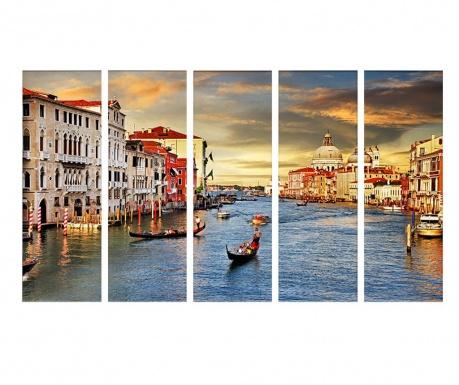 Комплект 5 картини Sunrise Venice  30x90 см