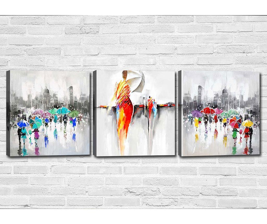 Set 3 tablouri Dancing in the Rain 30x30 cm