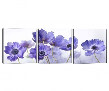 Sada 3 obrazov Purple Flowers 30x30 cm