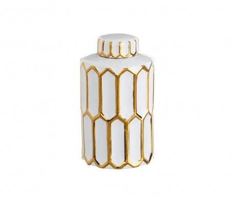Vas decorativ cu capac Golden Stripes