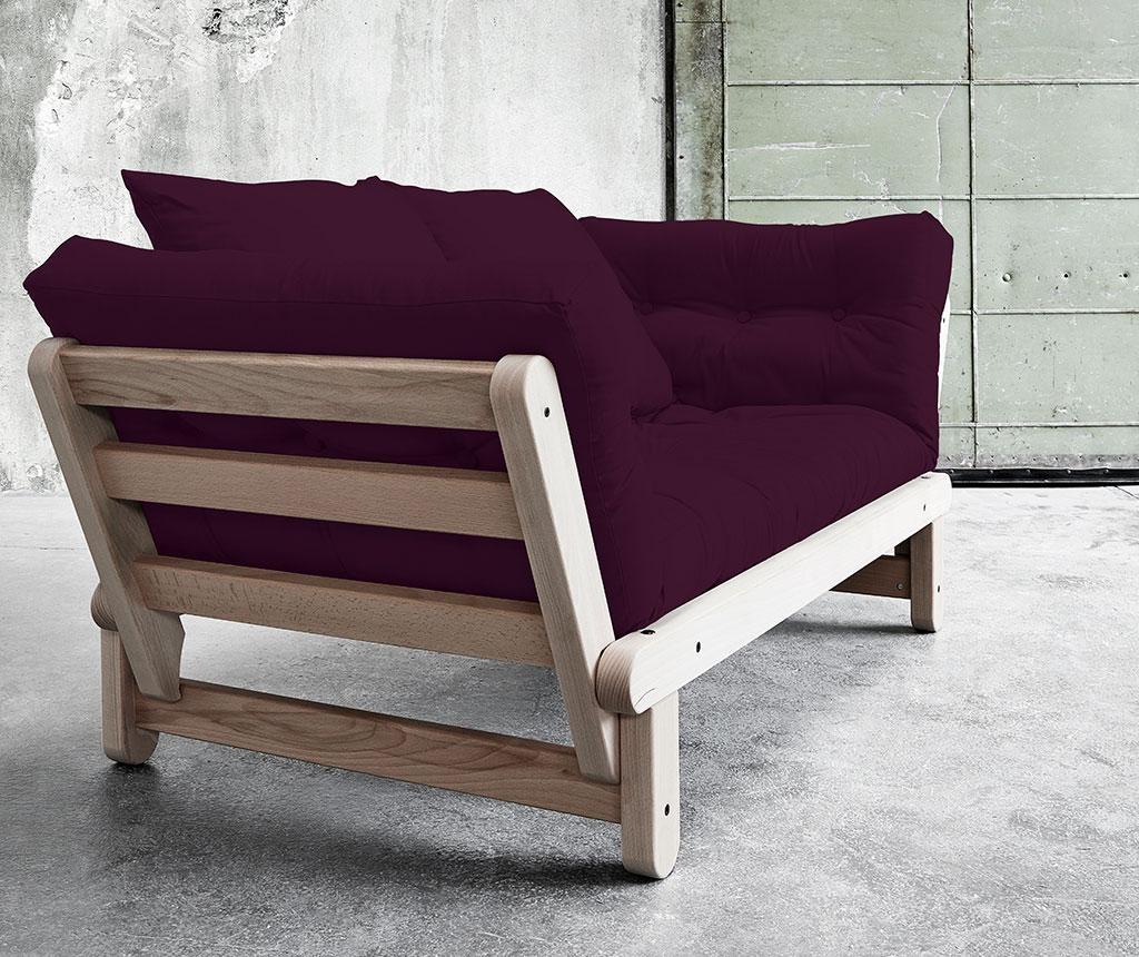 Kauč na razvlačenje Beat Lonetta Cream and Purple Plum