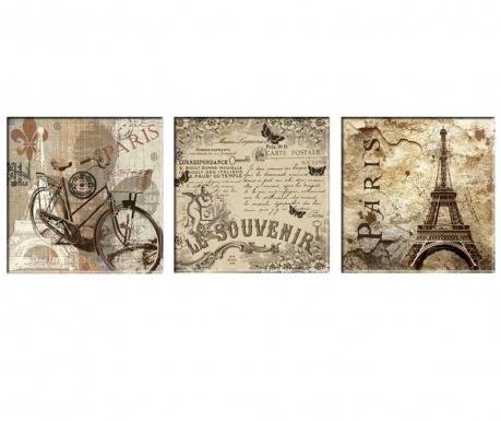 Σετ 3 πίνακες Vintage Paris 30x30 cm