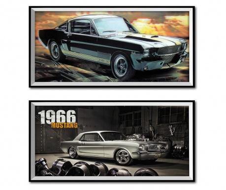 Σετ 2 πίνακες 3D Mustang 26x50 cm