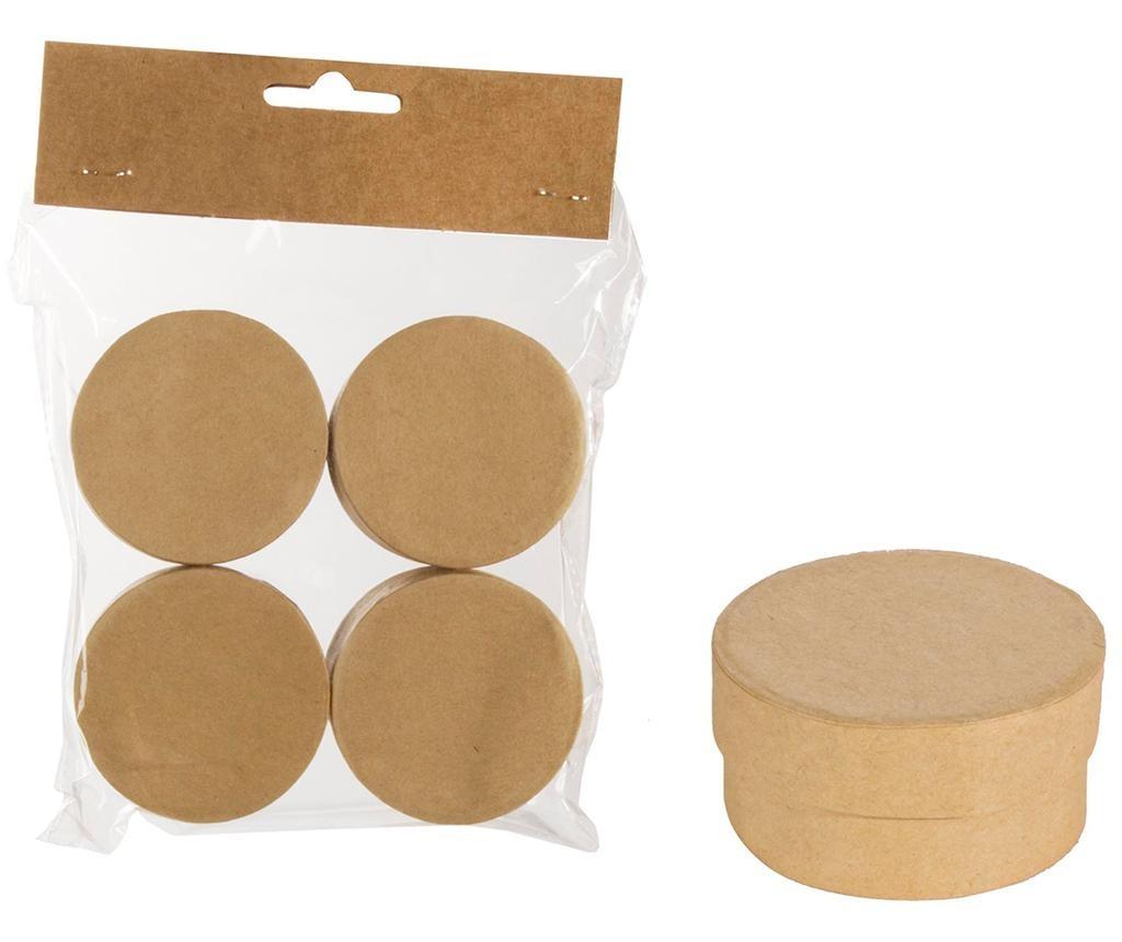 Set 4 cutii cu capac pentru pictat Round