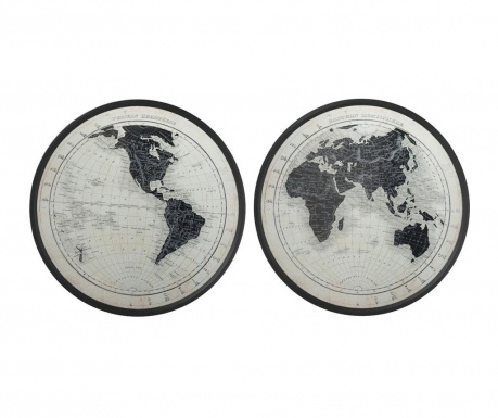 Sada 2 nástenné dekorácie The World goes Round