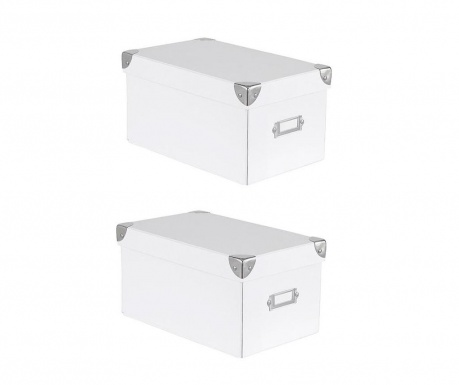 Sada 2 úložných krabic s víkem Peny White