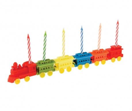 Party Train 6 db Tortagyertya és tartó