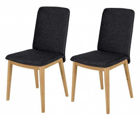 Sada 2 stoličky Adra Oak Dark Grey