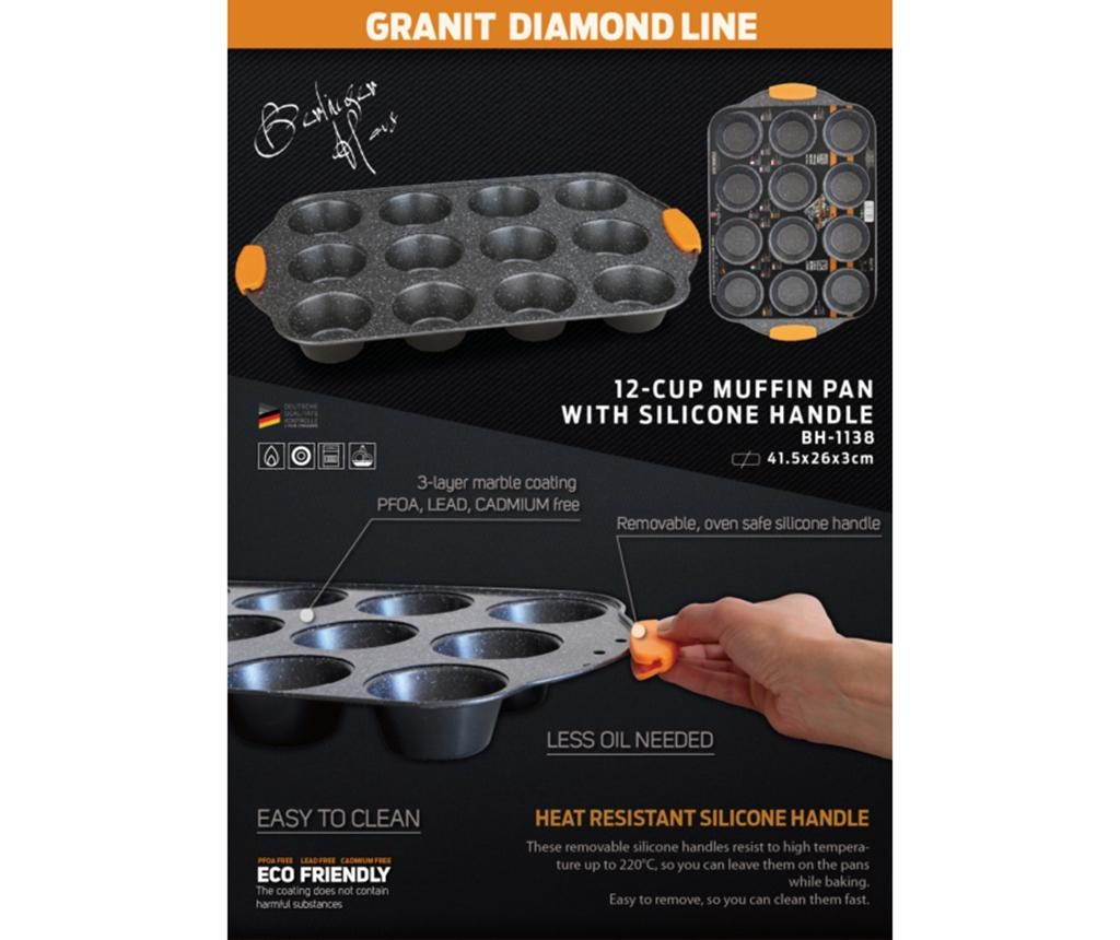 Posuda za pečenje za 12 muffina Granit Diamond